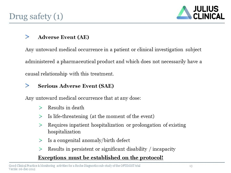 Drug safety (1) Adverse Event (AE)
