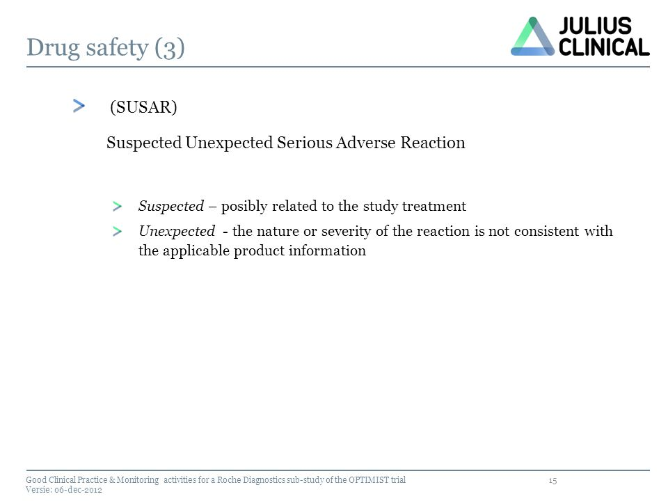 Drug safety (3) (SUSAR) Suspected Unexpected Serious Adverse Reaction