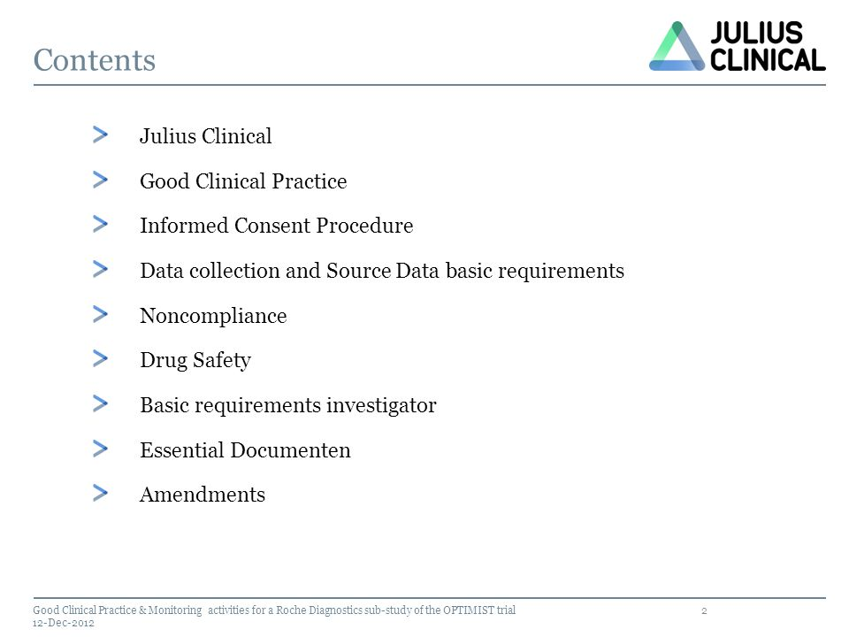 Contents Julius Clinical Good Clinical Practice