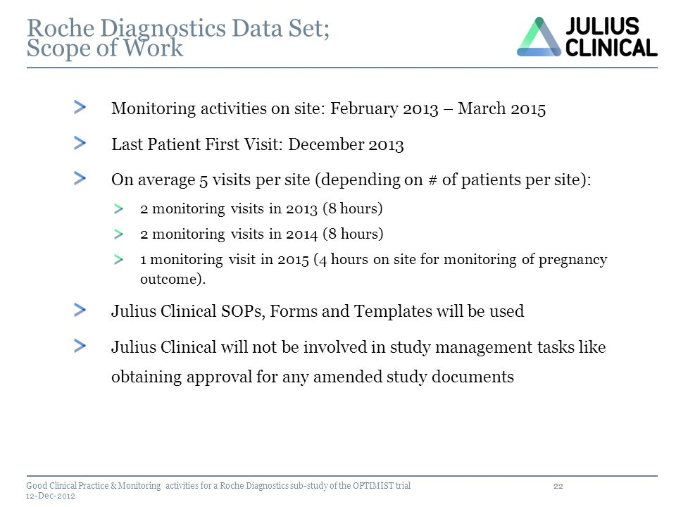 Roche Diagnostics Data Set; Scope of Work