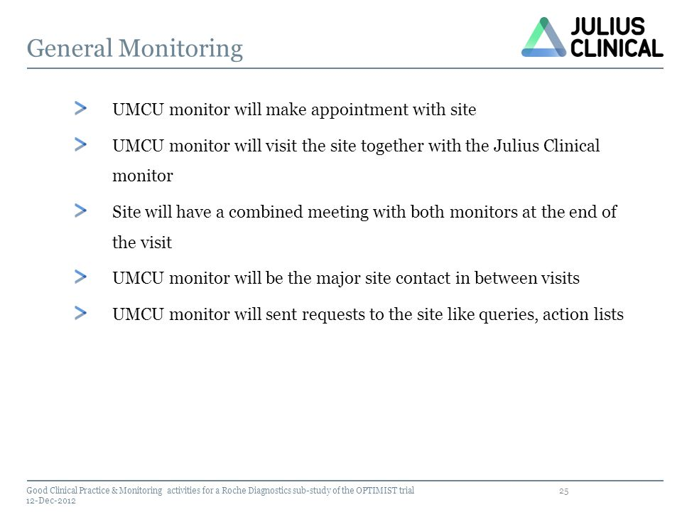 General Monitoring UMCU monitor will make appointment with site