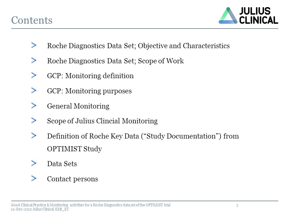 Contents Roche Diagnostics Data Set; Objective and Characteristics