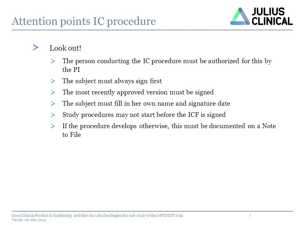 Attention points IC procedure