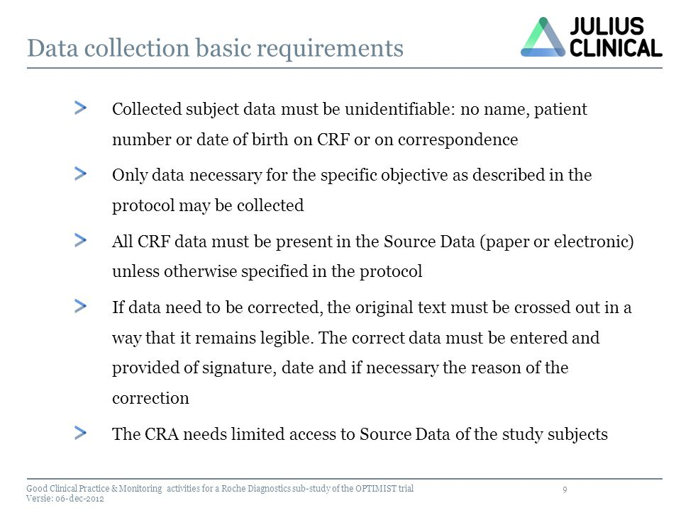 Data collection basic requirements