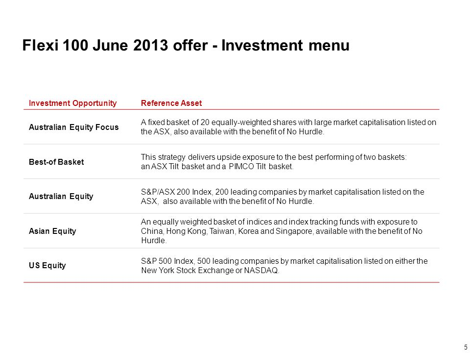 Flexi 100 June 2013 offer - Investment menu