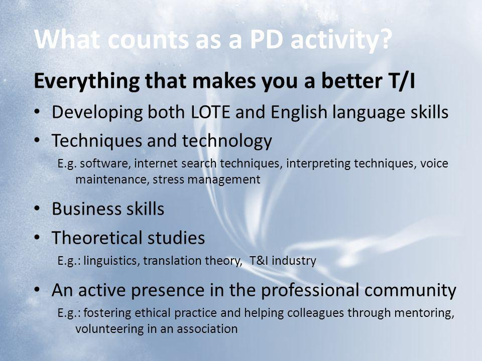 What counts as a PD activity