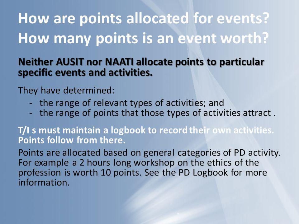 How are points allocated for events How many points is an event worth