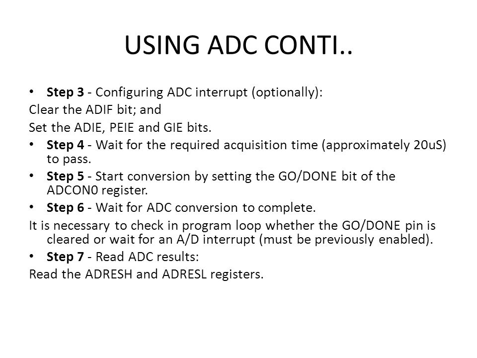USING ADC CONTI.. Step 3 - Configuring ADC interrupt (optionally):