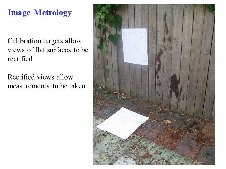 Image Metrology Calibration targets allow views of flat surfaces to be rectified.