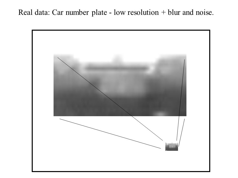 Real data: Car number plate - low resolution + blur and noise.