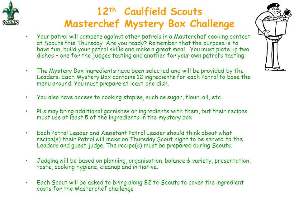 12th Caulfield Scouts Masterchef Mystery Box Challenge
