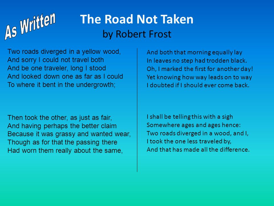 The Road Not Taken by Robert Frost