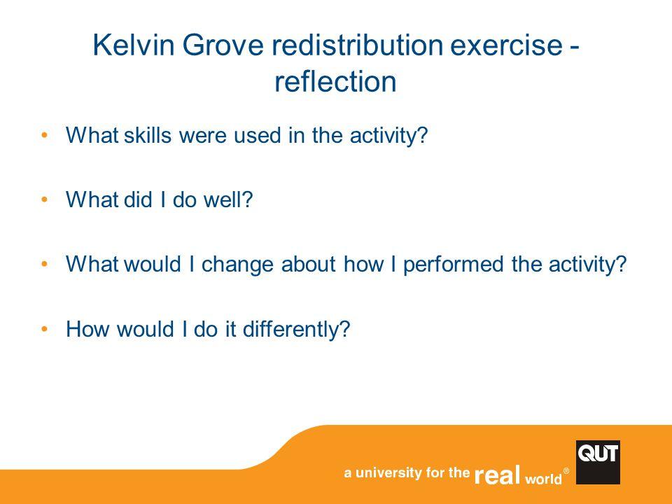 Kelvin Grove redistribution exercise - reflection