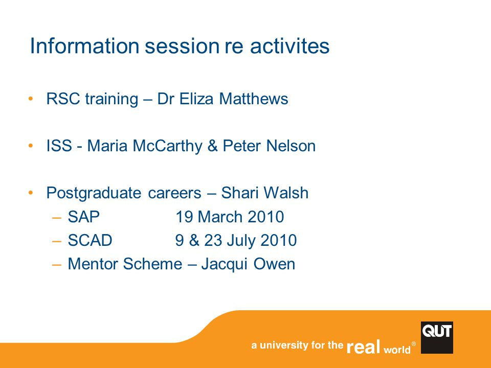 Information session re activites
