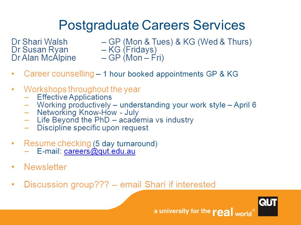 Postgraduate Careers Services