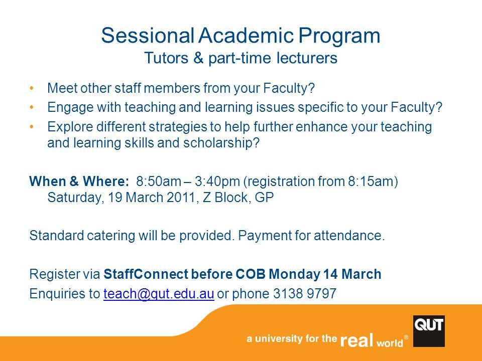 Sessional Academic Program Tutors & part-time lecturers