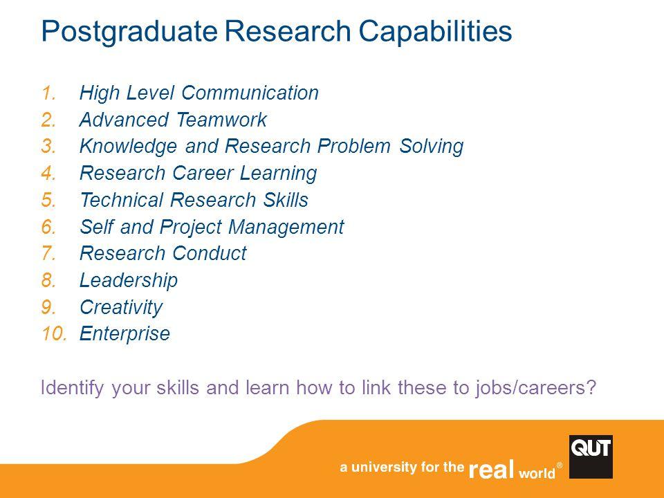 Postgraduate Research Capabilities