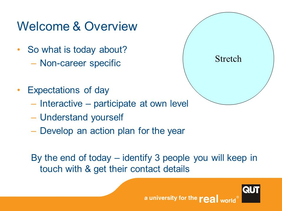 Welcome & Overview Stretch So what is today about Non-career specific