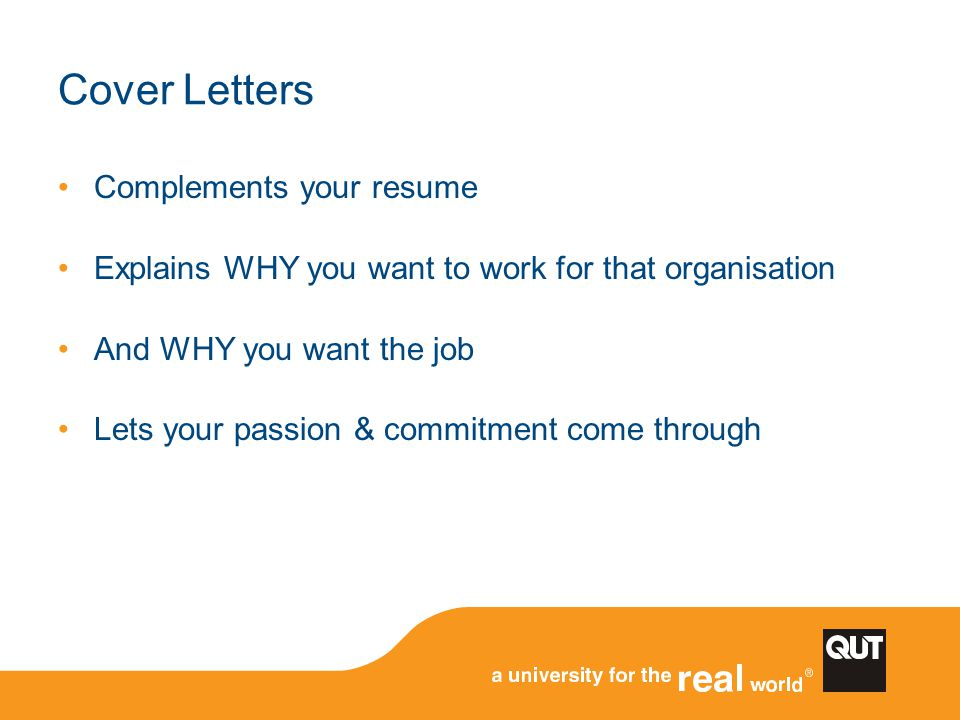 Cover Letters Complements your resume