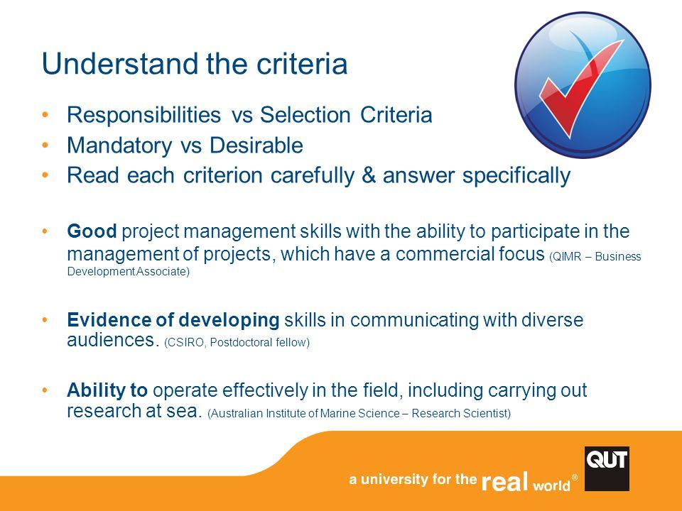 Understand the criteria