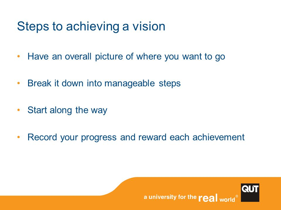 Steps to achieving a vision