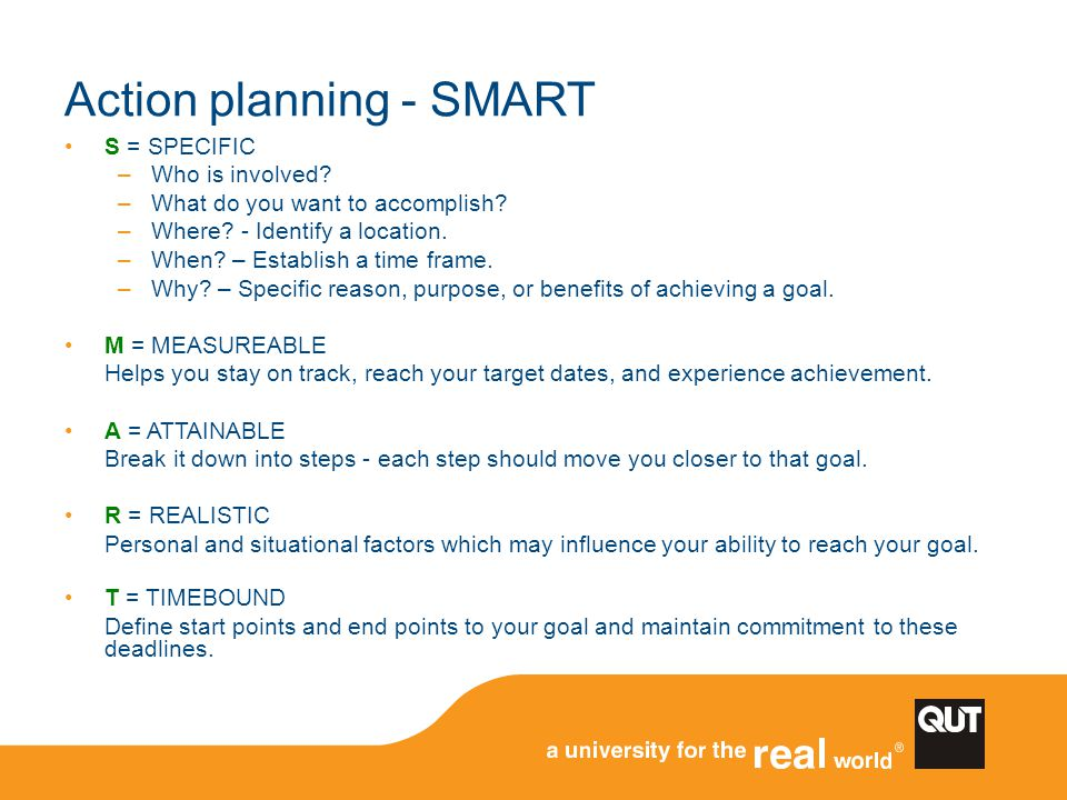 Action planning - SMART