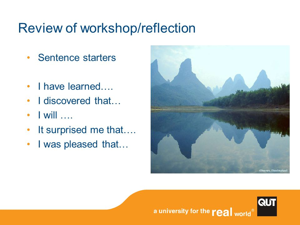 Review of workshop/reflection