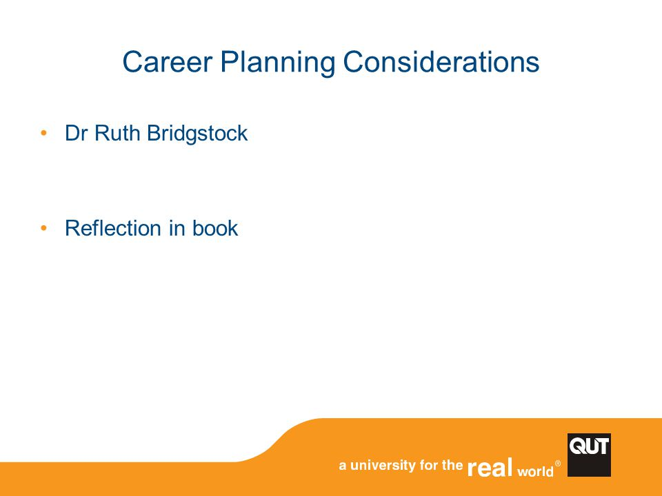 Career Planning Considerations