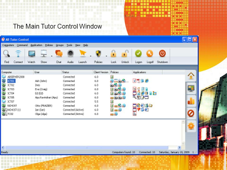 The Main Tutor Control Window