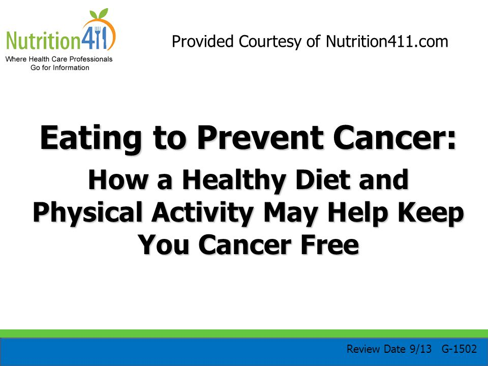Eating to Prevent Cancer: