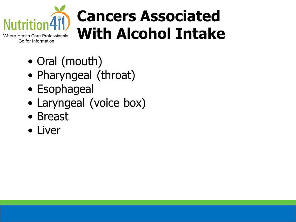 Cancers Associated With Alcohol Intake Oral (mouth)
