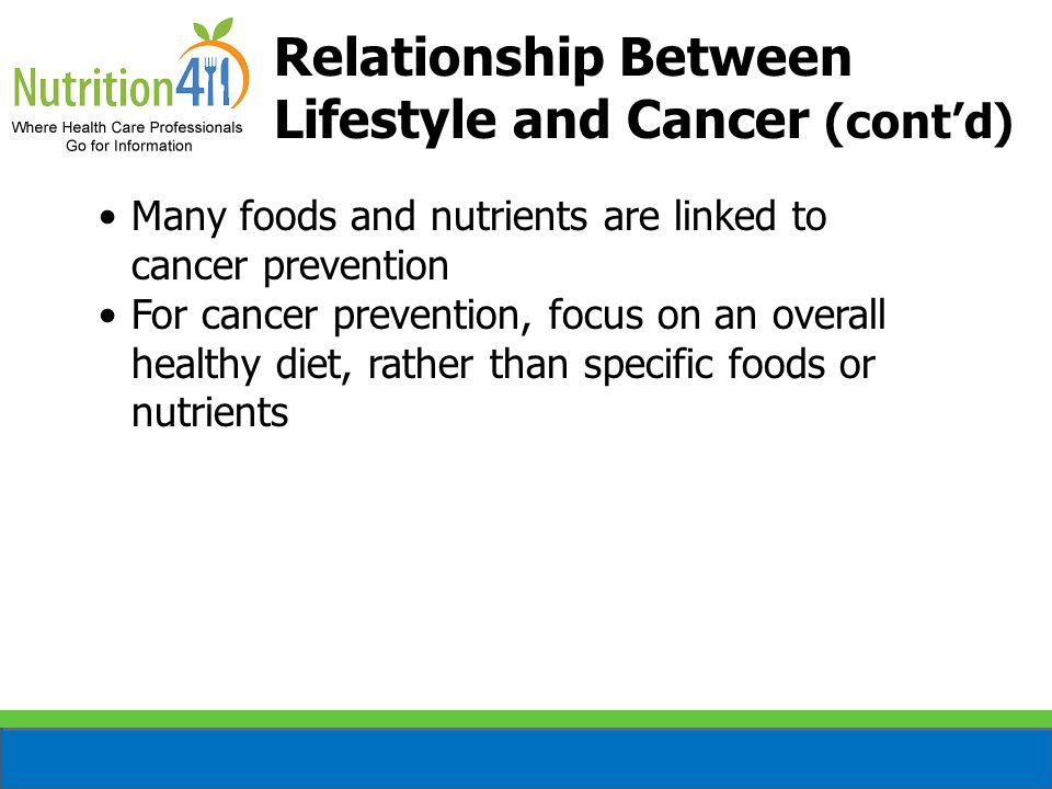 Relationship Between Lifestyle and Cancer (cont'd)