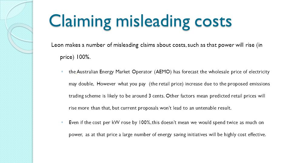 Claiming misleading costs