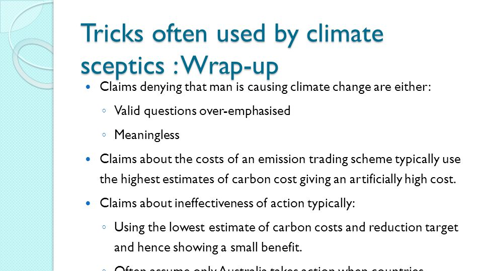 Tricks often used by climate sceptics : Wrap-up