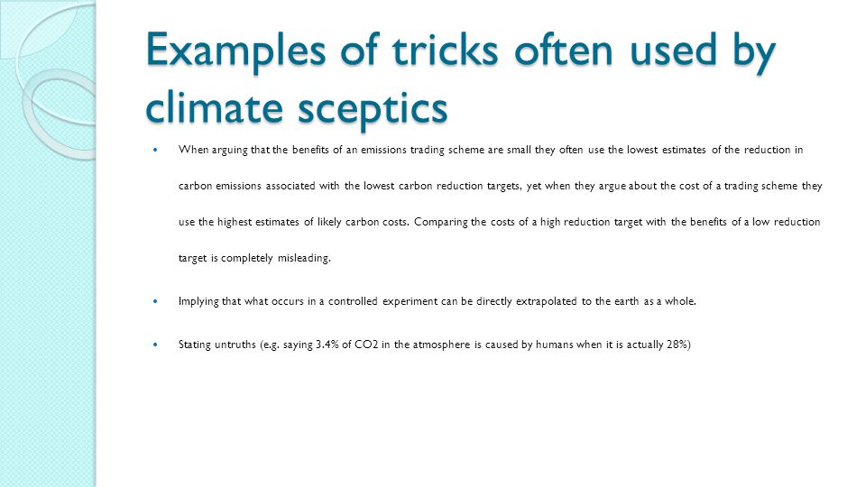 Examples of tricks often used by climate sceptics