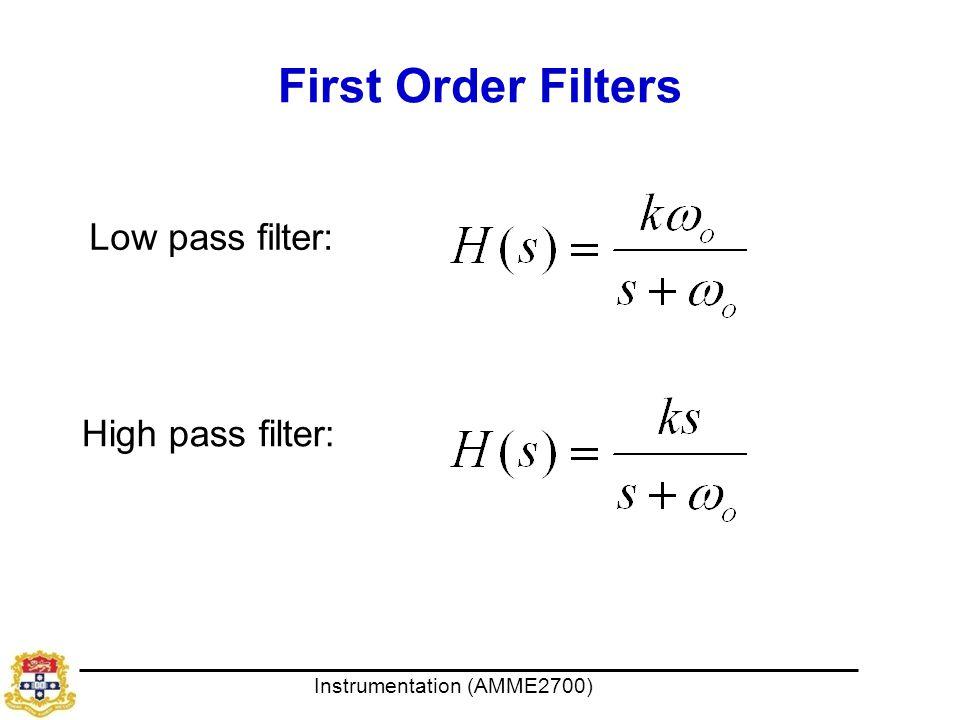 First Order Filters Low pass filter: High pass filter: