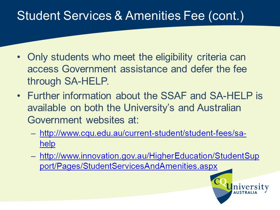 Student Services & Amenities Fee (cont.)