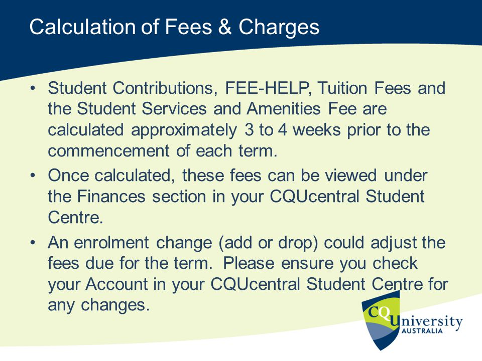 Calculation of Fees & Charges