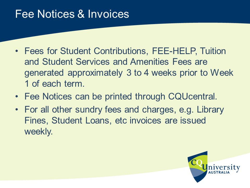 Fee Notices & Invoices