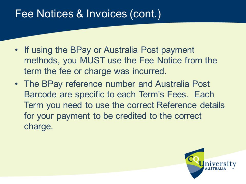 Fee Notices & Invoices (cont.)