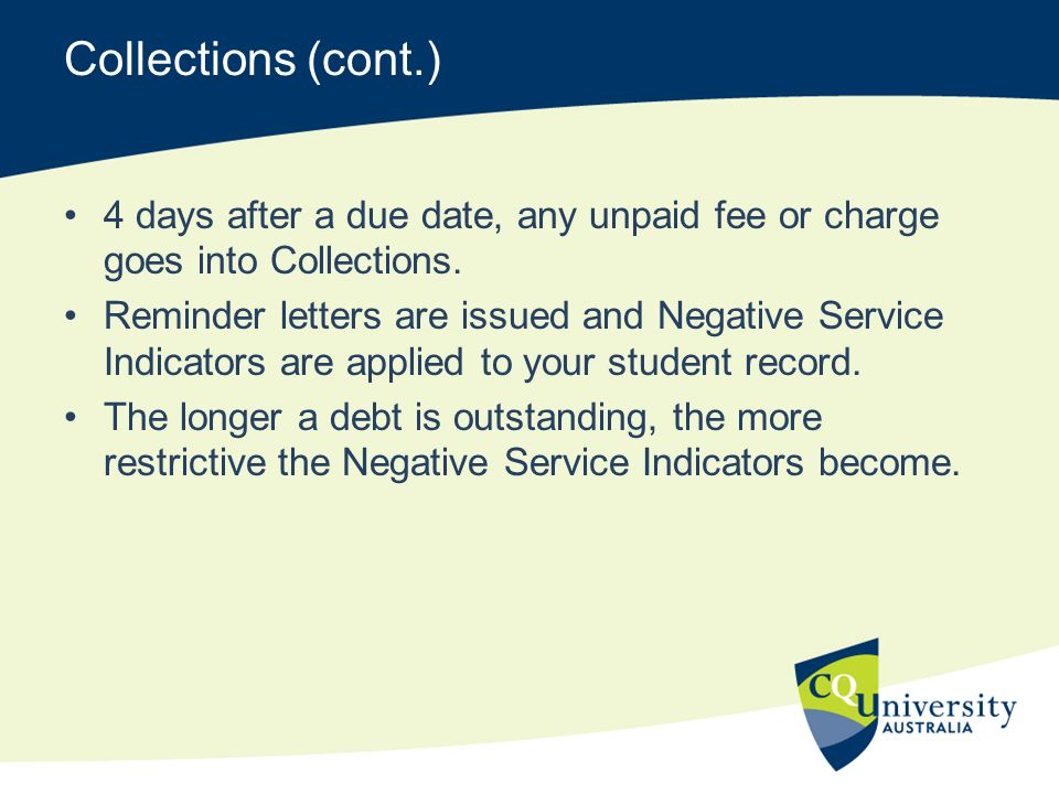 Collections (cont.) 4 days after a due date, any unpaid fee or charge goes into Collections.