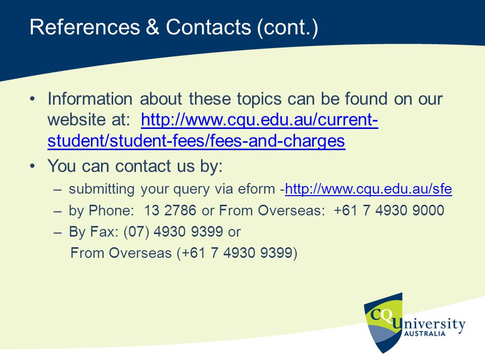 References & Contacts (cont.)