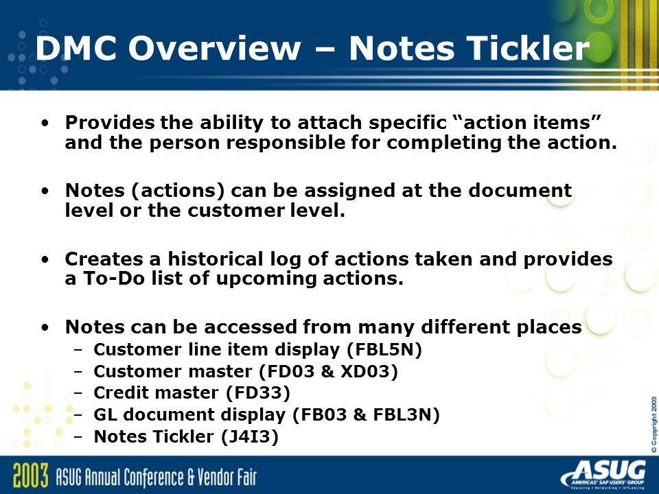 DMC Overview – Notes Tickler