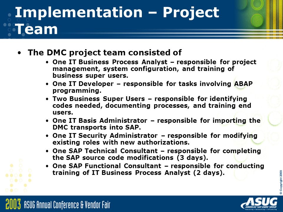 Implementation – Project Team