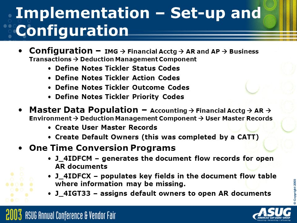 Implementation – Set-up and Configuration