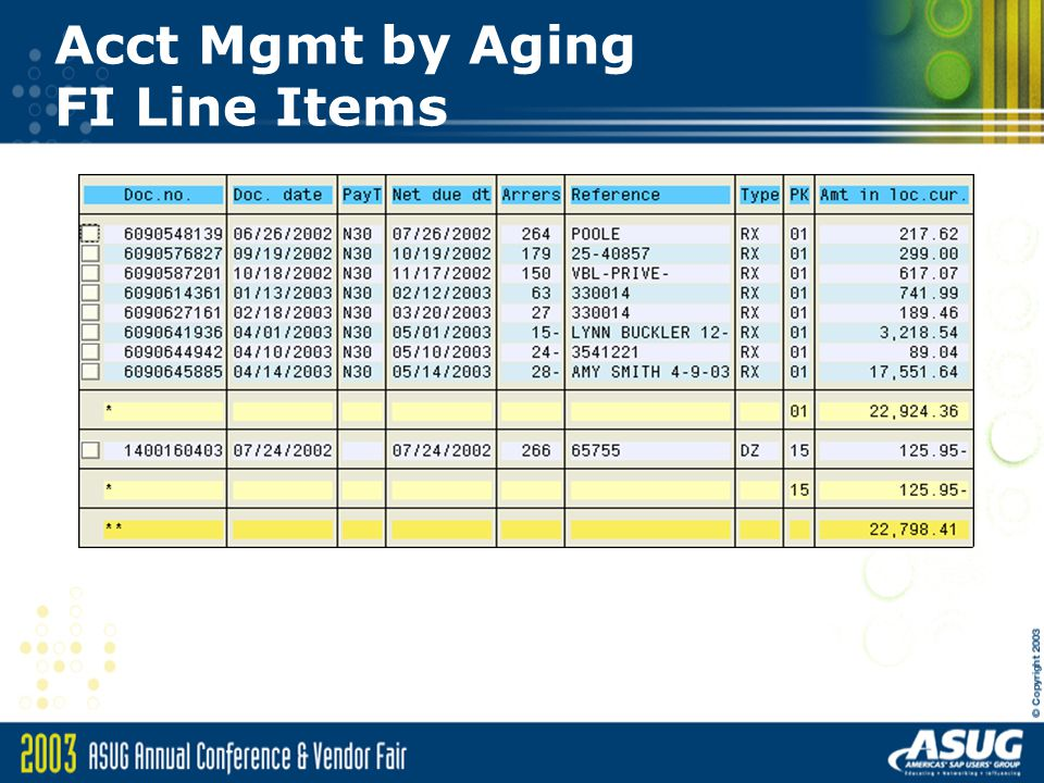 Acct Mgmt by Aging FI Line Items