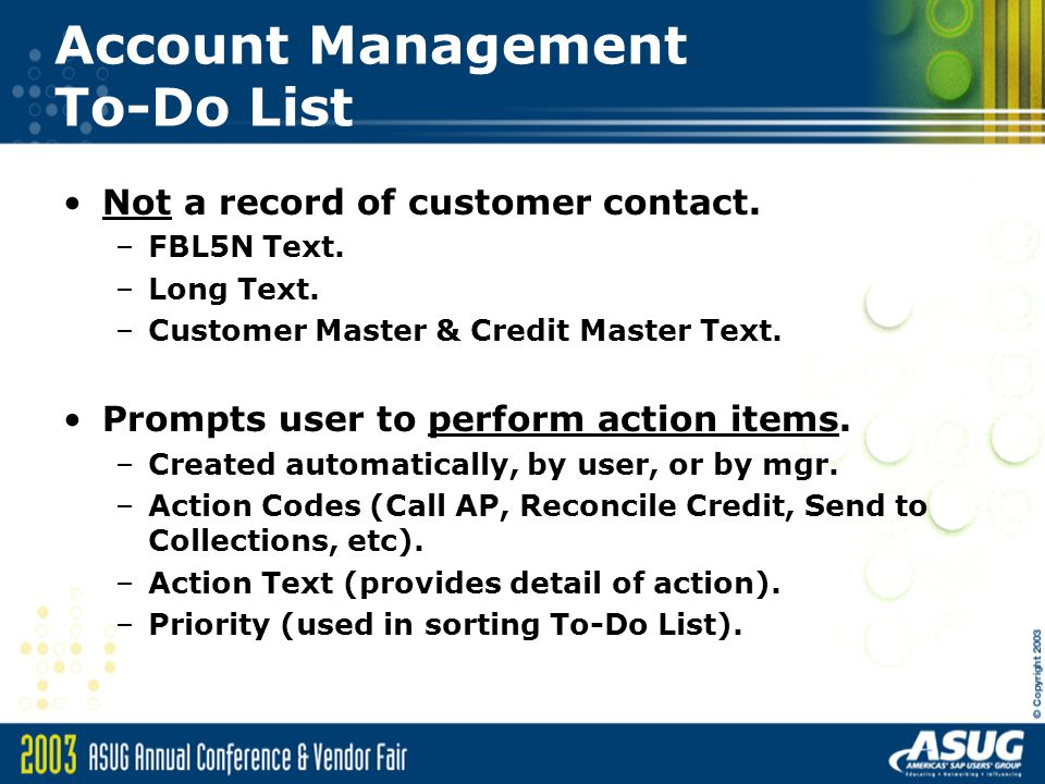 Account Management To-Do List