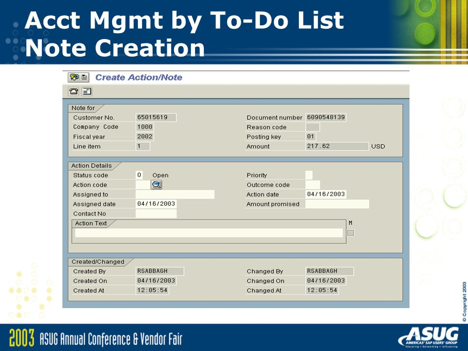 Acct Mgmt by To-Do List Note Creation