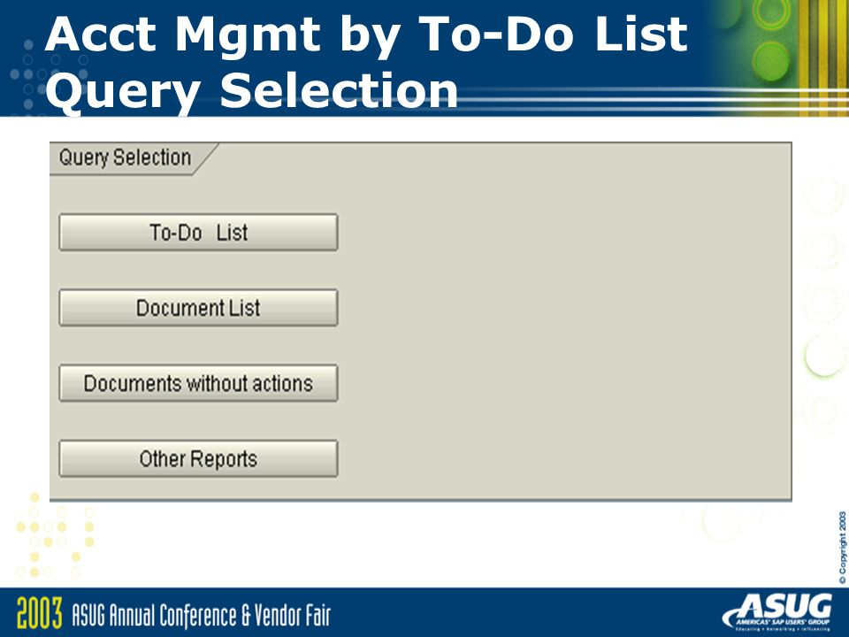 Acct Mgmt by To-Do List Query Selection