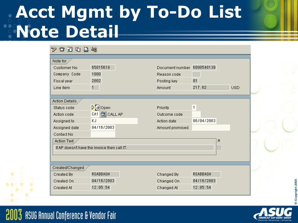 Acct Mgmt by To-Do List Note Detail
